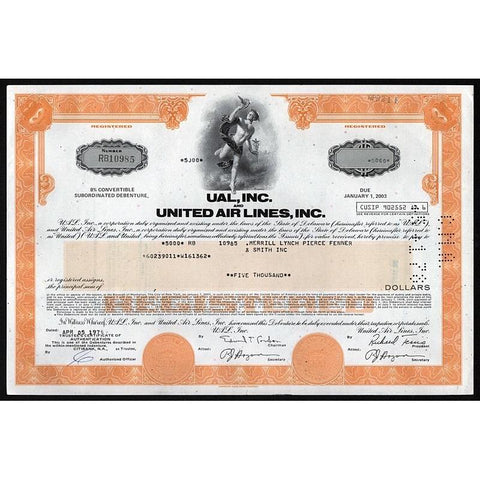UAL, Inc. and United Air Lines, Inc. Stock Certificate