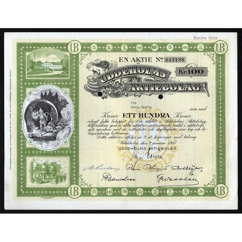 Uddeholms Aktiebolag. Stock Certificate