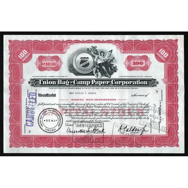 Union Bag-Camp Paper Corporation Stock Certificate