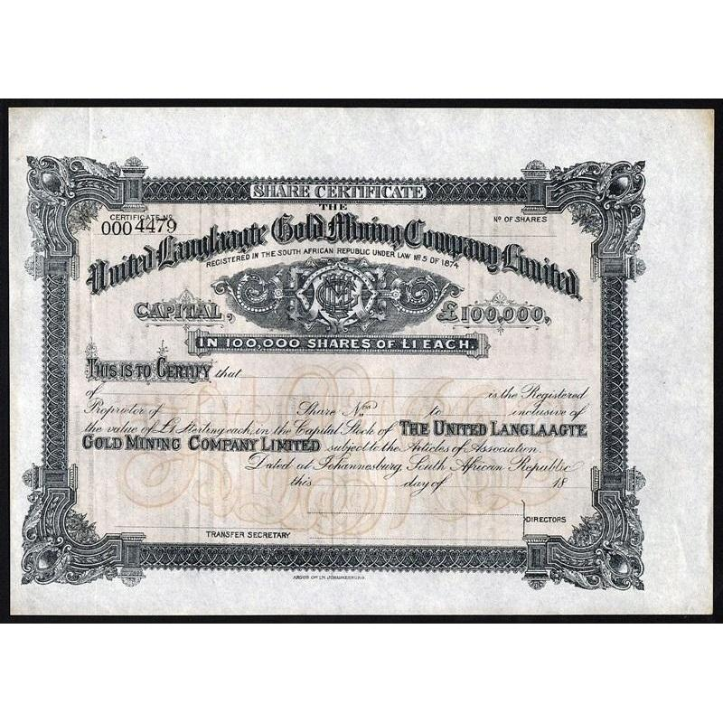 United Langlaagte Gold Mining Company Limited Stock Certificate