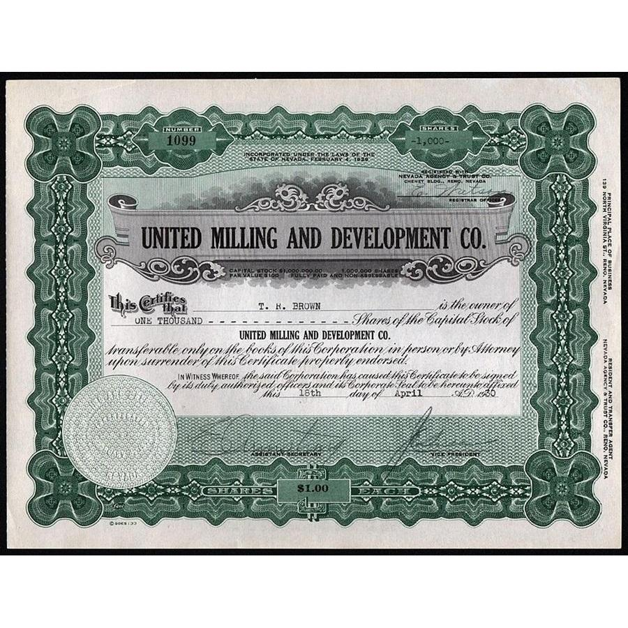 United Milling and Development Co. Stock Certificate