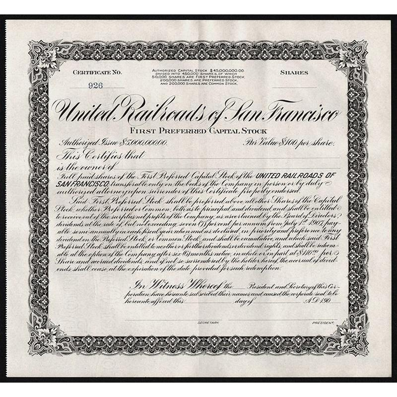 United Railroads of San Francisco Stock Certificate