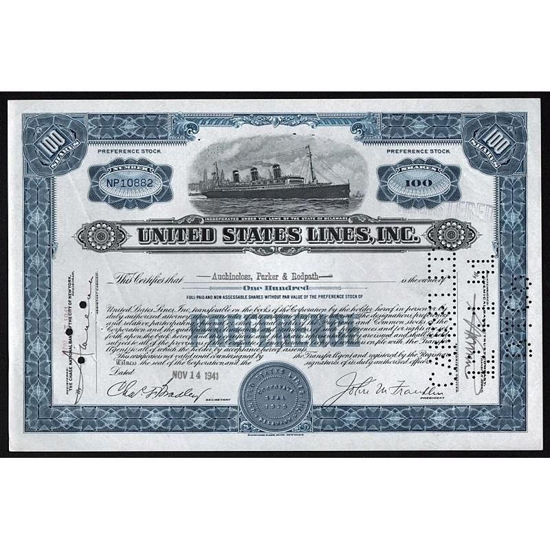 United States Lines, Inc. Stock Certificate