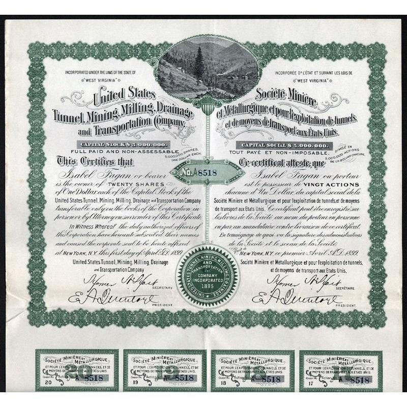 United States Tunnel, Mining, Milling, Drainage and Transportation Company Stock Certificate