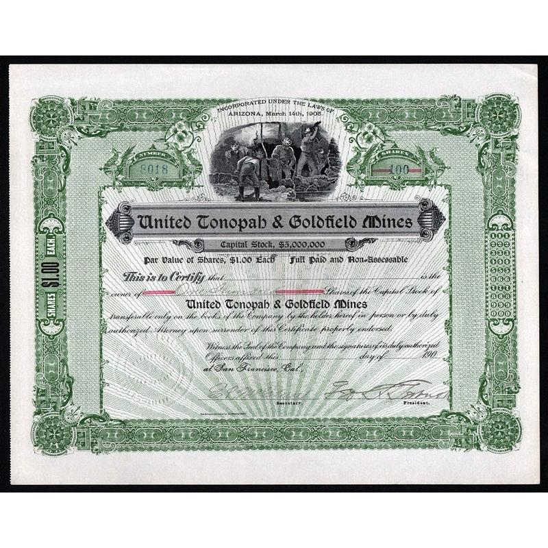 United Tonopah & Goldfield Mines Stock Certificate