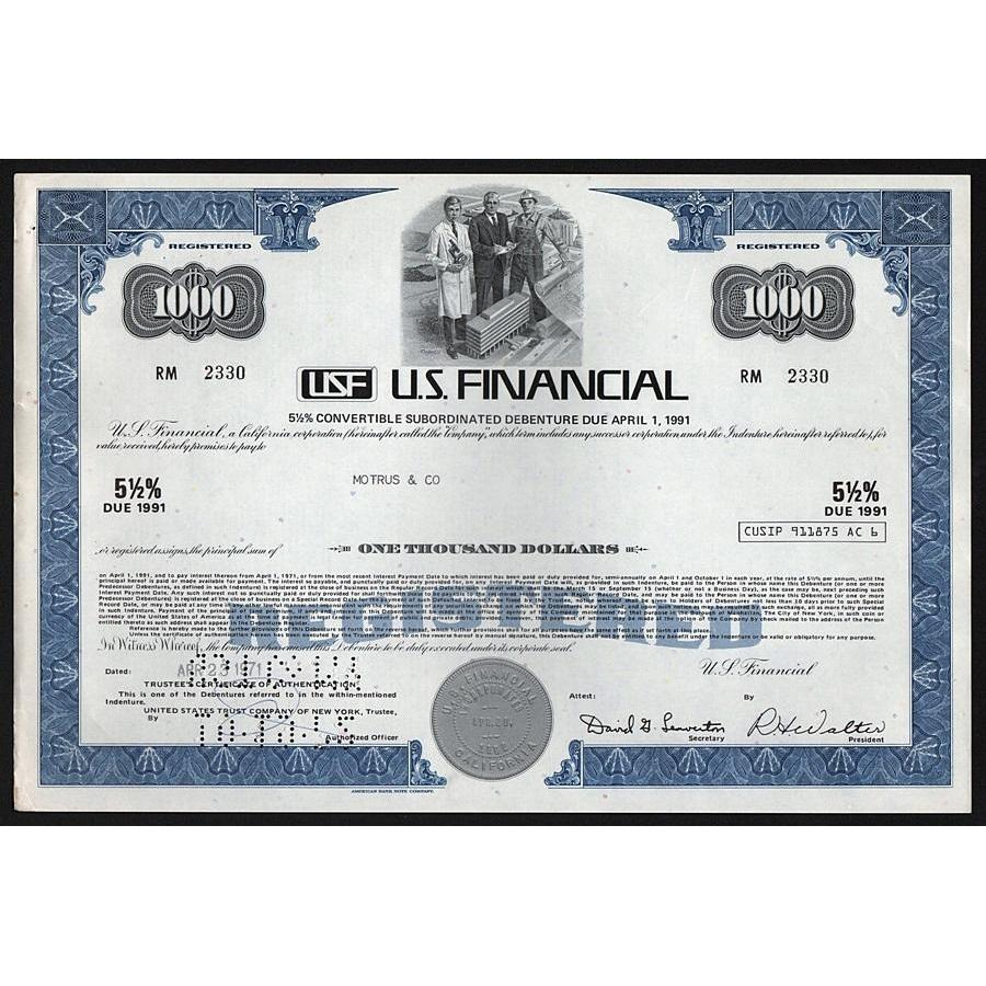 USF, U.S. Financial Stock Certificate