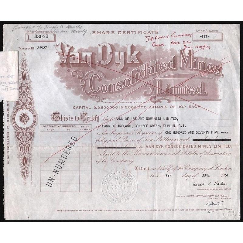 Van Dyk Consolidated Mines, Limited Stock Certificate