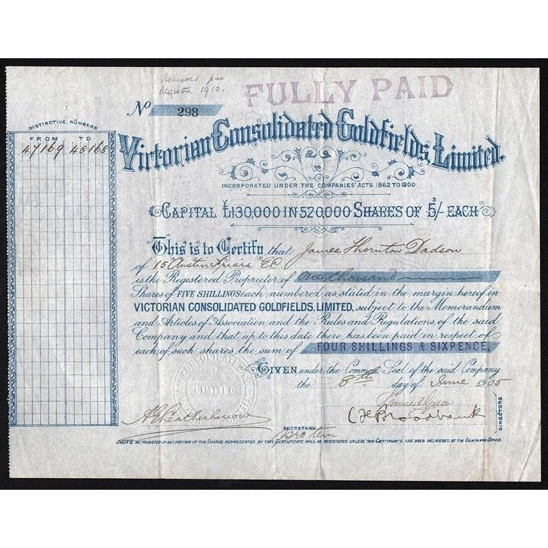 Victorian Consolidated Goldfields, Limited Stock Certificate