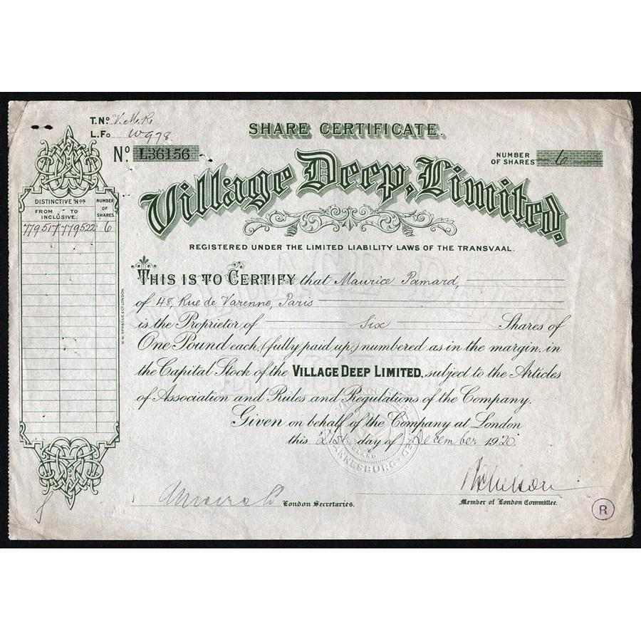 Village Deep, Limited Stock Certificate
