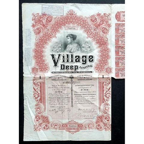 Village Deep Limited, Witwatersrand, The Transvaal Stock Certificate