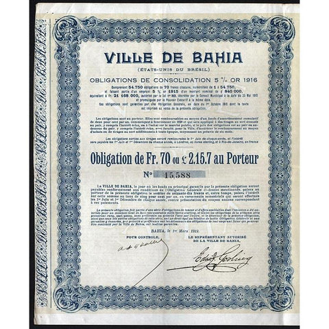 Ville de Bahia (Etats-Unis du Bresil) - Gold Bond with Treasury Bill Stock Certificate