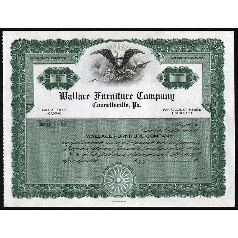 Wallace Furniture Company, Connellsville, Pa. Stock Certificate