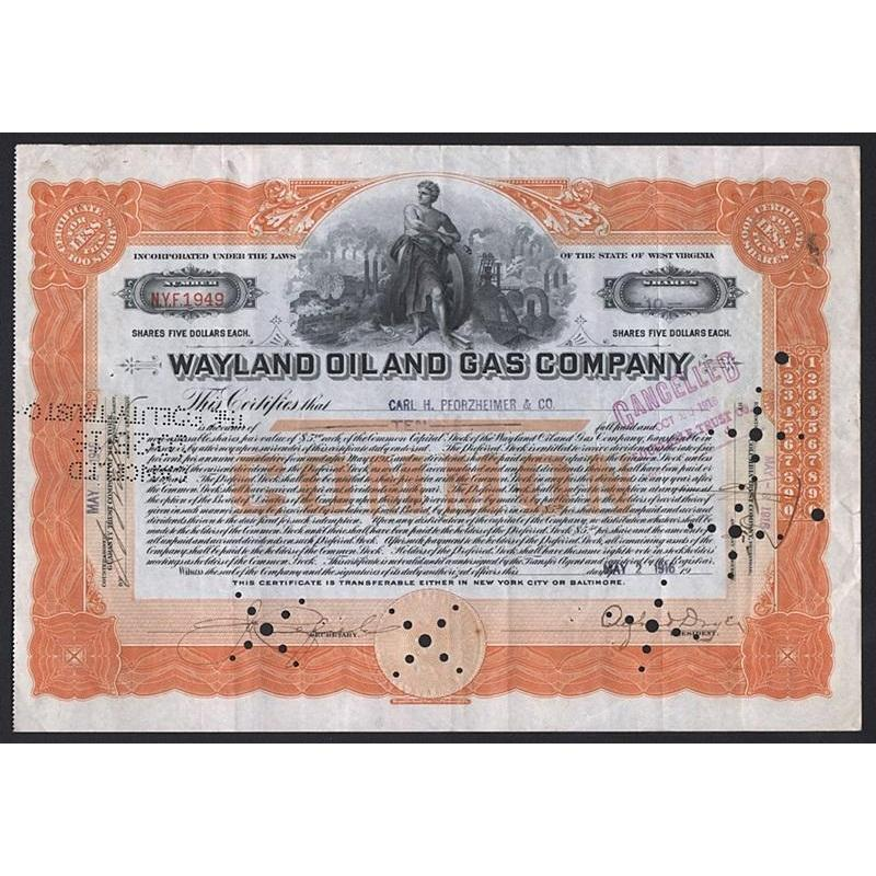 Wayland Oil and Gas Company Stock Certificate
