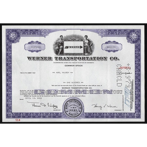 Werner Transportation Co. Stock Certificate