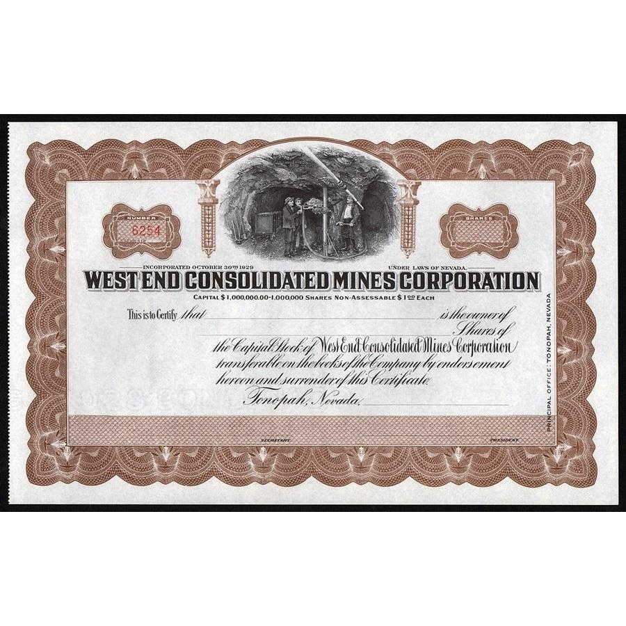 West End Consolidated Mines Corporation Stock Certificate