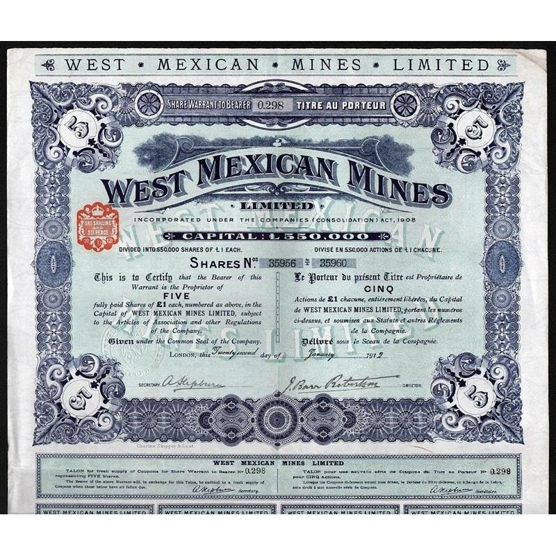 West Mexican Mines Limited Stock Certificate