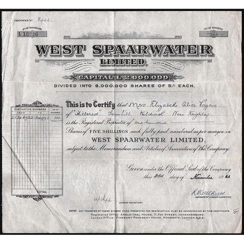 West Spaarwater Limited Stock Certificate
