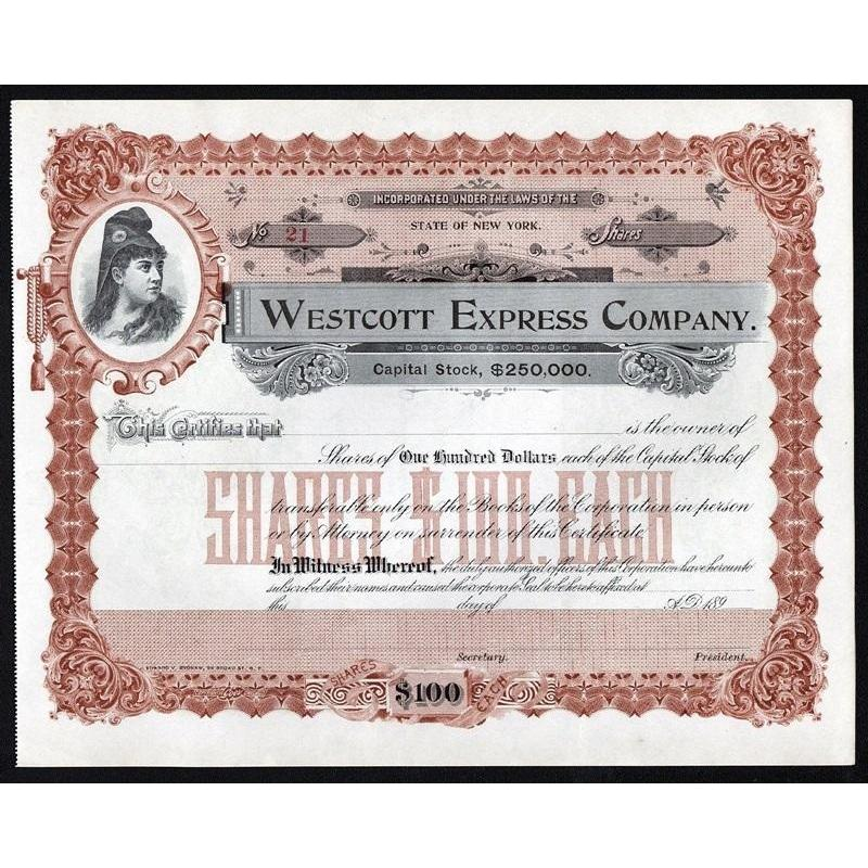 Westcott Express Company (bought out by American Express) Stock Certificate