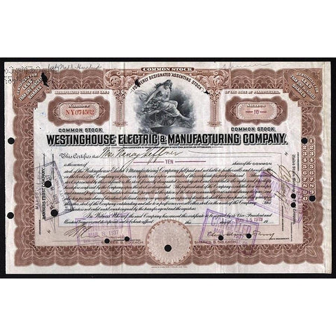 Westinghouse Electric & Manufacturing Company Stock Certificate