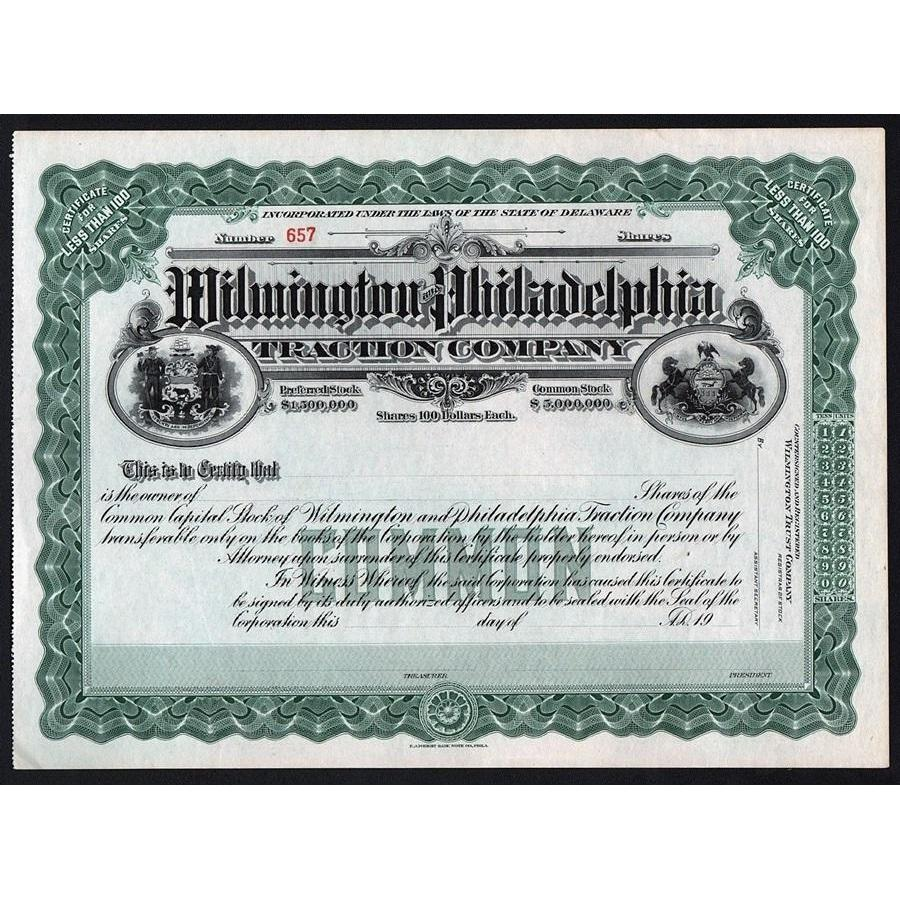 Wilmington and Philadelphia Traction Company Stock Certificate