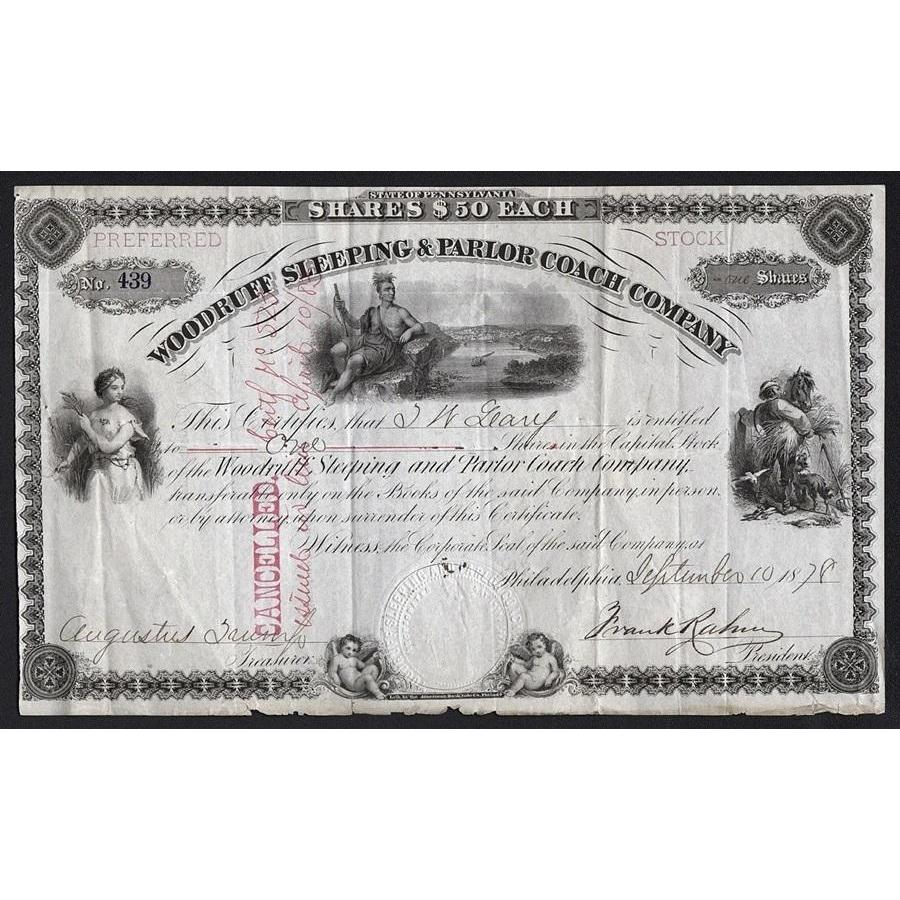 Woodruff Sleeping & Parlor Coach Company Stock Certificate