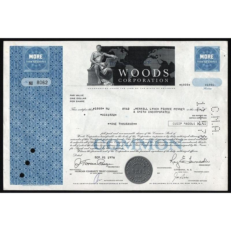 Woods Corporation Stock Certificate