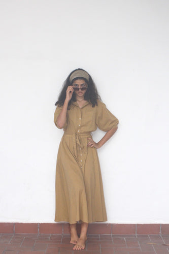 Shirt Dress, Neutral, Khaki. Elegant, Dress, Summer Dress, Maxi Length, Retro, Glamour, Resort Wear, Beach wear, Organic Cotton