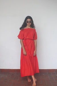 Felice, maxi Dress, Silk Cotton, Beach to Bar, Resort Wear, Beachwear, Coral, Red, Off Shoulder,