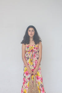 Strapless, Bright, Pink,Tropical Print,Floral PrintMidi-length, Midi Dress, Dress, Sundress, Cotton,  Beach to Bar, Resort Wear, Beachwear