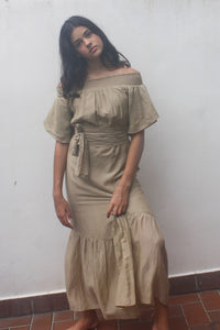 Neutral, Felice, maxi Dress, Silk Cotton, Beach to Bar, Resort Wear, Beachwear, Off Shoulder,