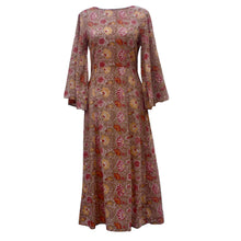 Butterfly Sleeves, Midi Dress, Block Printed Sundress in Flame Red