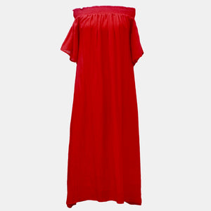 Silk/ Cotton Midi Length Fae Flame Red Sundress