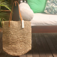 Raffia Shopper with Leather Straps