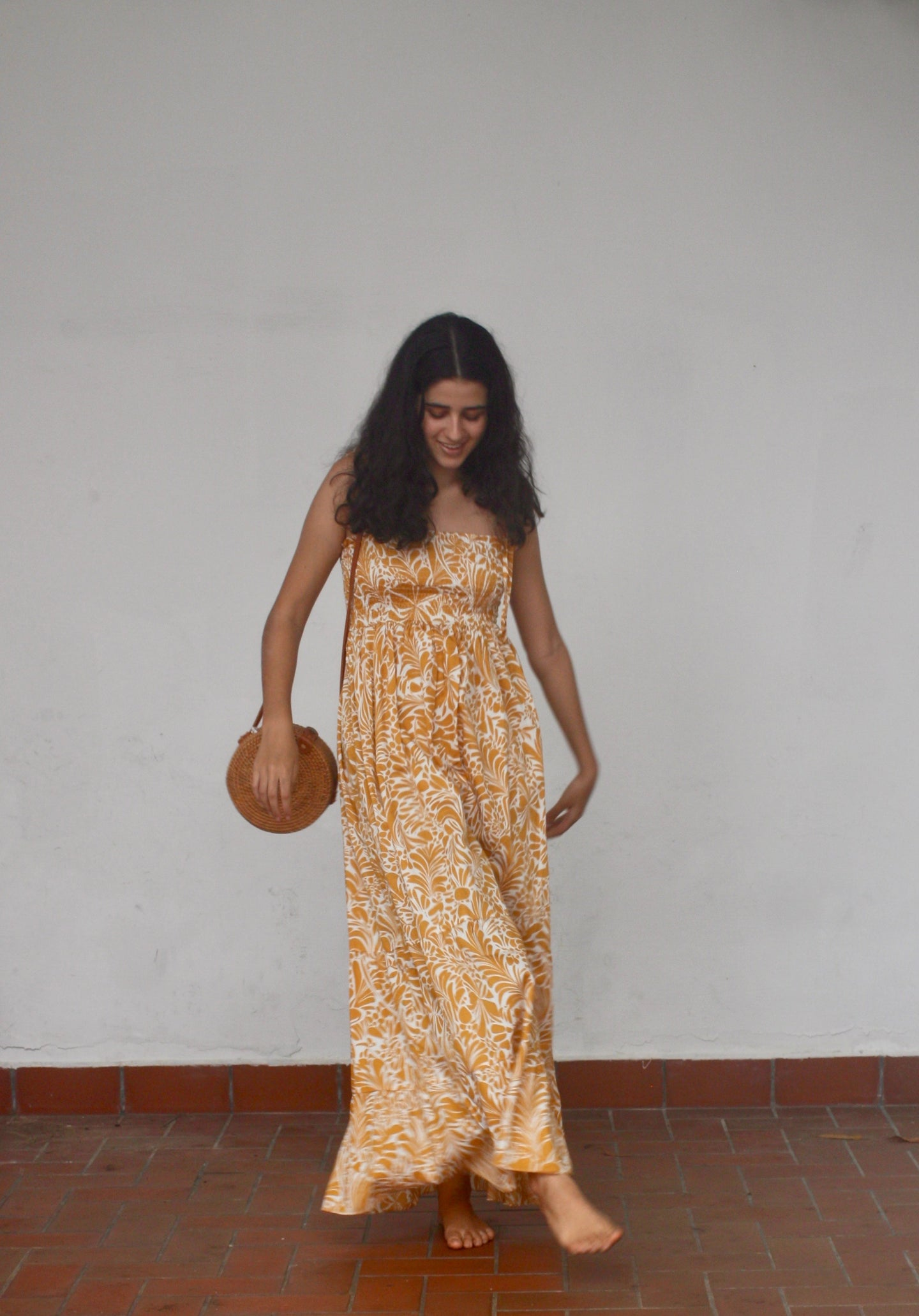 Smocked,Maxi Dress, Cotton, Beach to Bar, Tiered, Yellow Gold, Resort Wear, Beach Wear