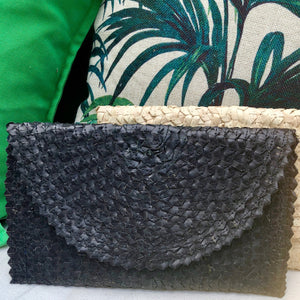 Black Raffia Clutch Bag, Purse, Resort wear, Beach wear
