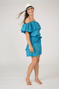 Blue,Off the Shoulder, Mini Length,Cotton Sundress