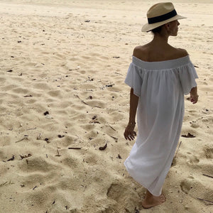 Silk/ Cotton Midi Length Off Shoulder Fae White Sundress