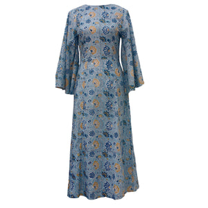 Butterfly Sleeves, Midi Dress, Block Printed Cotton Sundress in Sky Blue
