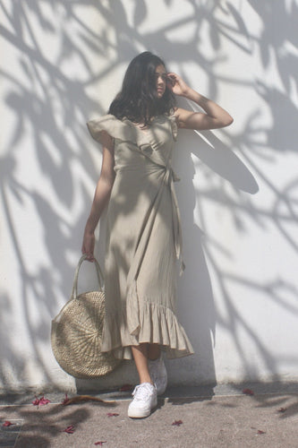Ash, Neutral, midi-length, silk/cotton mix wrap dress. Resort wear
