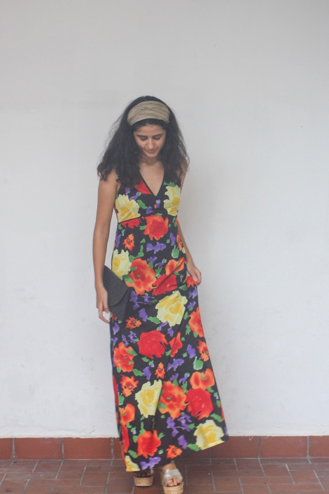 Maxi Dress, Cotton, Beach to Bar, Halter neck, Print, Bright, Black, Floral Print, Resort Wear, Beach Wear
