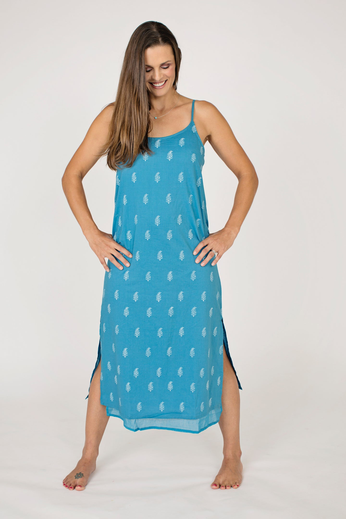 Blue Cotton Maya Slip Dress, Fully Lined, White Block Printed Motif