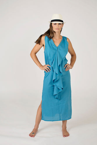Blue cotton midi-length sundress, racer back, lightweight, resort wear