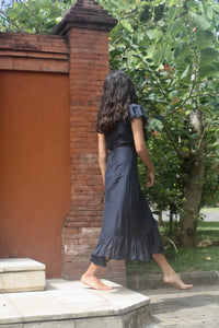 Ink, Dark Navy midi-length silk/cotton mix wrap dress. Resort wear