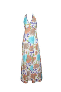 Maxi Dress, Cotton, Beach to Bar, Halter neck, Print, Pretty, Pastel, Bold, White Floral Print, Resort Wear, Beach Wear
