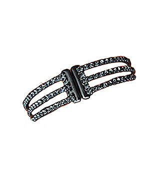 3 Row CZ Gap Bracelet, Black Rhodium