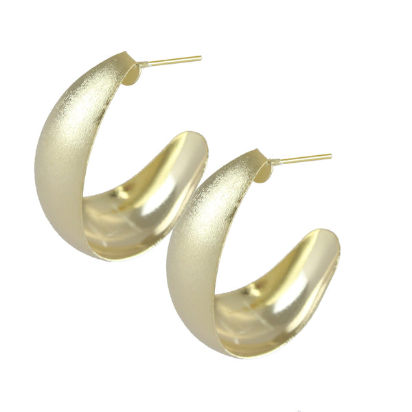 Thick Half Hoop Earrings - Yellow Gold