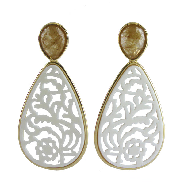 18K Gold Plated Rutilated Quartz Earrings with Filigree