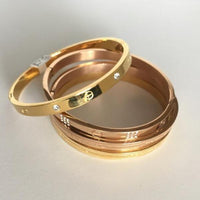 Love Forever Bangle Bracelet, Gold Tone