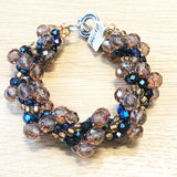 Hand-Crotched Sapphire and Citrine Beaded Bracelet