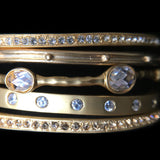 Pente Bangles - Gold and CZ